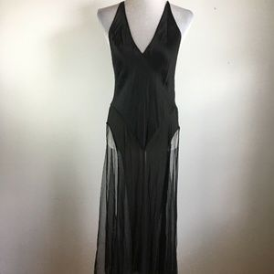 Victorias Secret Nightgown M Black Silk Sheer Mesh